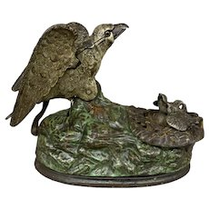 J & E Stevens Co Cast Iron Eagle and Eaglets Mechanical Bank Patent 1883