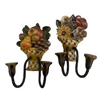 Pair of Folk Art Polychrome Hand Carved Fruit & Foliate Wooden Sconces circa 1940