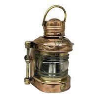 Vintage English Ship's Masthead Copper & Brass Navigational Lantern by Seahorse