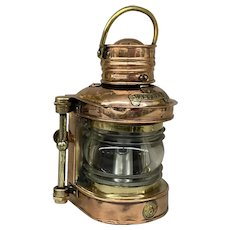Vintage English Ship's Masthead Copper & Brass Navigational Lantern by Seahorse