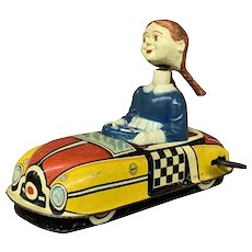Marx Wind Up Tin Toy Dipsy Doodle Dora Queen of the Campus Bumper Car  1950's