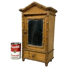 Miniature or Salesman Sample Antique Bamboo Decorated One Drawer Armoire with Mirror