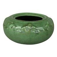 Hampshire Pottery Floral Leaf Design Bowl with Matte Green Glaze