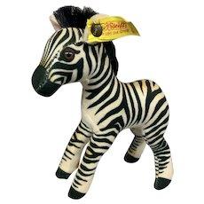 Vintage German Steiff Toy Zebra with Ear Button & Flag
