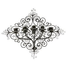 Ebonized Wrought Iron Five Light Scrollwork Wall Sconce in Diamond Form