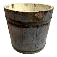 Antique Primitive Maple Sap Bucket in Early Faded Blue Paint