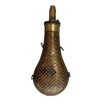 19th c James Dixon & Sons Copper Powder Flask