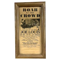 Vintage Joe Louis Boxing Movie Framed Theatre Advertising Poster