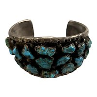 Native American Silver & Turquoise Cuff or Bracelet signed RB