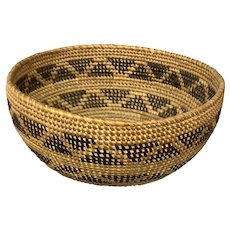 Yokuts California Native American Rattlesnake Basketry Bowl circa 1900