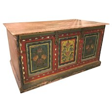 19th c European Polychrome Foliate Decorated Wooden Paneled Chest