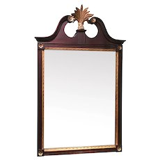 Custom Mahogany Wall Mirror with Wheat Crest Attributed to Kaplan Furniture, Boston MA