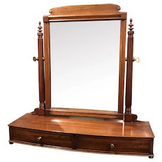 Solid Mahogany Two Drawer Footed Shaving Mirror by Irving & Casson - A.H. Davenport Co.