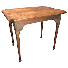 18th c NH Maple Pinned Top Tavern Table with Cut Corners