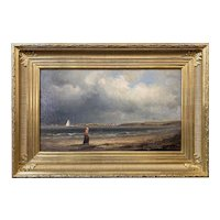 Otis S. Weber Marine Coastal Oil Painting, Woman on the Beach