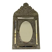Antique French Victorian Brass Mirrored Wall Valet Cabinet