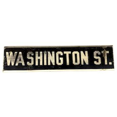 Early 20th c Wooden & Enamel Washington Street Sign, Boston MA