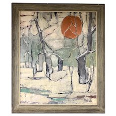 Mid Century Impressionist Winter Landscape Signed Beach