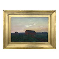William Anderson Coffin Twilight Landscape Oil Painting with Buildings