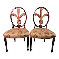 Pair of Mahogany & Maple Side Chairs with Prince of Wales Feather Backs by Gerte