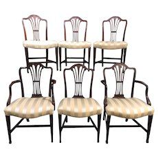 Custom Set of Six Carved Mahogany Dining Chairs by Irving & Casson