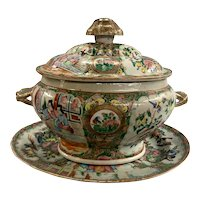 19th c Chinese Rose Medallion Covered Soup Tureen & Oval Platter