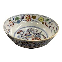 Mason's Ironstone China Polychrome Decorated Bowl with Flying Bird Pattern