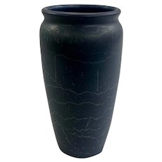 Hampshire Pottery Vase in a Striated Matte Blue Glaze