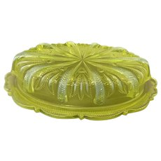 Fenton Cactus Pattern Covered Butter Dish 1959