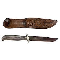 WWII US Murphy Combat Knife with Tooled Leather Sheath Variant