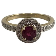 14K Gold Ladies Ring with Center Ruby & Diamonds