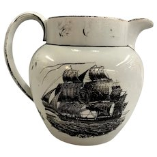 19th c Transfer Decorated Liverpool Creamware Pitcher or Jug for the American Trade