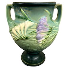 Roseville Pottery Freesia Pattern Handled Footed Green Vase circa 1945