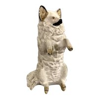 Early to Mid 20th c Chalkware Still Bank of a Seated Dog