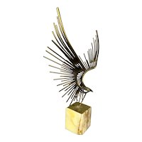 Curtis Jere Midcentury Abstract Brass Flying Eagle Sculpture on Plinth