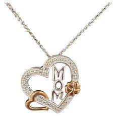 Sterling Silver, Rose Gold, & Diamond Mom Heart Pendant & Chain