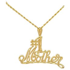 14K Gold #1 Mother Pendant Necklace