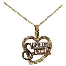 """14K Yellow, White, & Rose Gold """"Someone Special"""" Heart Pendant and Chain"""