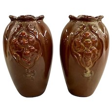 Pair of Weller Art Pottery Floretta Vases circa 1904