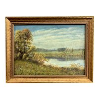 William T. Robinson Landscape Oil Painting of a Quiet Lake