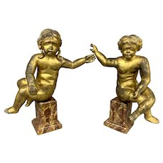 Pair of 18th Century Continental Giltwood Putti or Cherubs on Faux Marble Bases