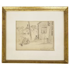 Pencil Drawing by Charles Paul Gruppe, Signed by Son Karl H. Gruppe