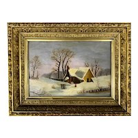 19th c Hudson River School Winter Landscape, Reminiscent of Thomas Chambers