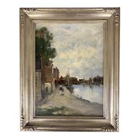 Charles Paul Gruppe Oil Painting of a Dutch Canal Scene