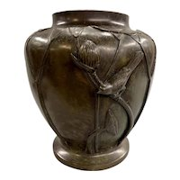 Patinated Bronze Vase with Bird Motif or Decoration circa 1920