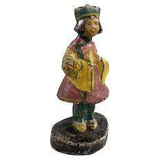 Figural Antique Asian Girl Polychrome Cast Iron Door Stop