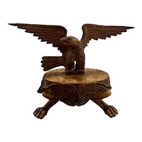Vintage Folk Art Rampant Carved Eagle on Paw Foot Stand