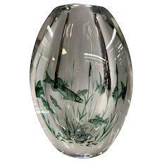 Orrefors Graal Fish Mid Century Art Glass Vase
