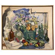 Richard Blauvelt Coe Oil Painting, Still Life with Flowers, Bottles, & Fruit 1970