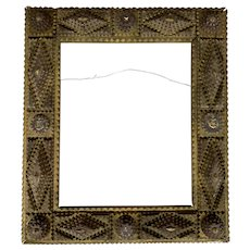 Folk Art Adirondack Style Tramp Art Frame with Anchor and Star Decoration